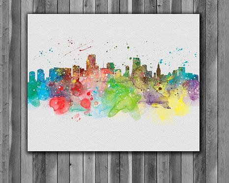 Miami-Skyline Skyline Art Prints Skylines Painting Skylines Poster Skylines Wall Art Skylines watercolor Skylines Home art