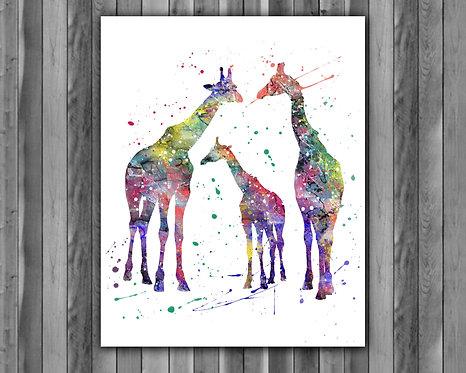 Family giraffes animals watercolor, Family giraffes Art Print, Family giraffes art, giraffes Print, giraffes wall art, giraff