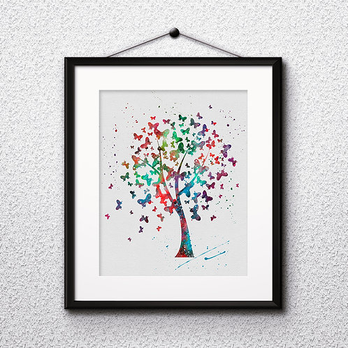 Tree with butterflies art print, Tree Printable, Tree watercolor, Tree Print, Tree with butterflies, Tree Art, Tree painting