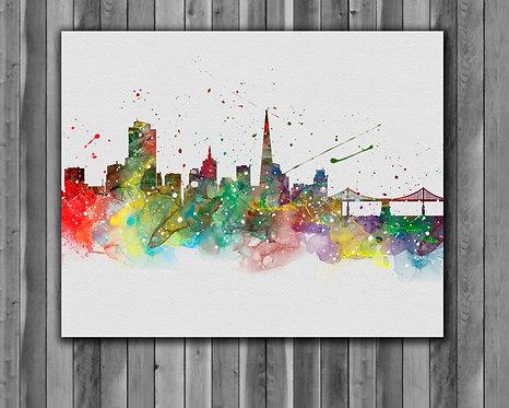 San-Fransisco Skyline Art Prints Skylines Painting Skylines Poster Skylines Wall Art Skylines watercolor Skylines Home art