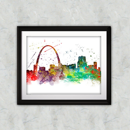 St.-Louis Skyline Art Prints Skylines Painting Skylines Poster Skylines Wall Art Skylines watercolor Skylines Home art