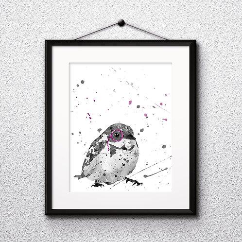 Bird With Glasses Printable Art Print, buy digital image, buy watercolor, buy painting, buy wall art, buy poster
