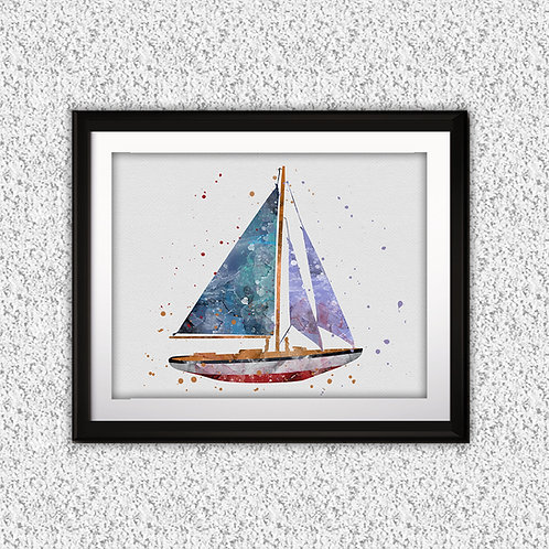 Sailboat Print, Nursery Wall Art, Nautical Decor, Marine, boat Wall Art, Boat Wall Decor, Boat Nursery
