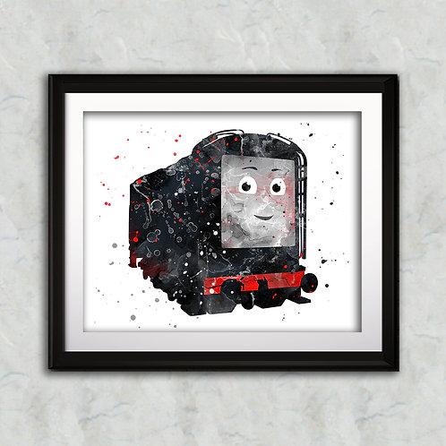 Diesel - Thomas the Tank nursery art print, Wall Art, Poster,  Painting, Home Decor, Watercolor Print, Watercolour Print