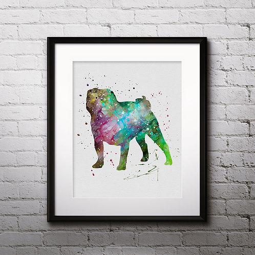 Pug Art Print, dog watercolor Print, dog Watercolor poster, dog Wall Art, Digital Download, dog Wall Decor, dog Art