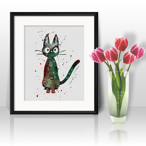 Сat Ji-Ji, Kiki's Delivery Service Anime Art, Watercolor Printable, Print, Painting, Home Decor, Wall Art Poster, buy poster