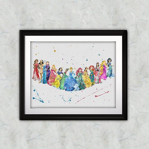 Disney Princess printables Painting, Disney Princess art Print, Princess Poster, Disney wall art, Disney Princesses art