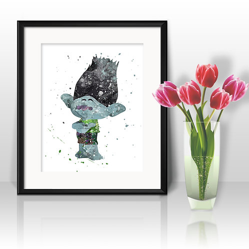 Trolls, Branch Digital Image Wall Art, Art Print, instant download, Watercolor Print, Poster