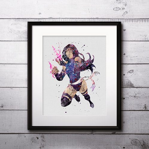 Superhero Psylocke Poster, Elizabeth Braddock - watercolor, Art Print, instant download, Watercolor Print, poster