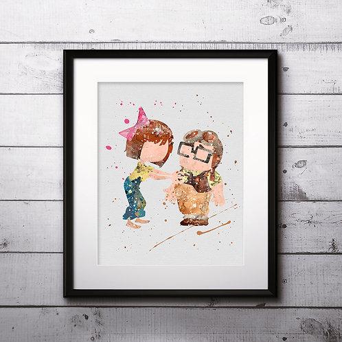 Pixar Up Balloon Disney art, Young Carl Fredricksen and Ellie Fredricksen Poster,  Painting, Art Print, home decor, wall art