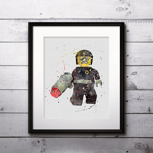 Wyldstyle Lego Movie, Lego minifigure - Art Print, instant download, Watercolor Print