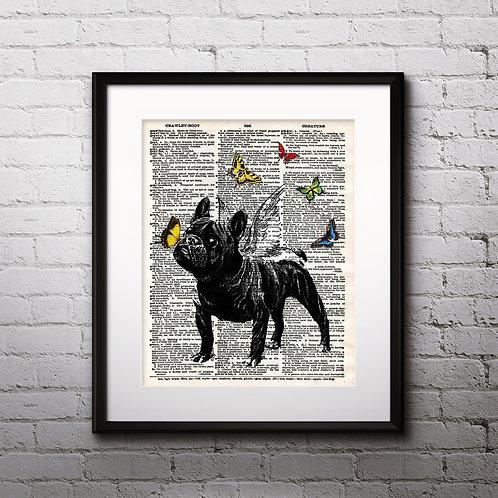 French Bulldog Vintage Dictionary Art Prints Digital Poster Home Decor mixed media art print