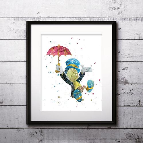 Jiminy Cricket Pinocchio Disney Art Prints Instant Download Printable Watercolor Art Nursery Prints Painting Poster Home Art