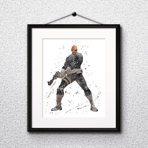 Nick Fury superhero Marvel Comics watercolor Printable Poster, Art Print, instant download, painting, Watercolor Print, Home