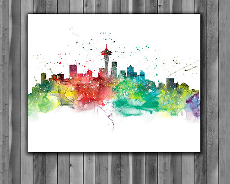 Seattle Skyline Art Prints Skylines Painting Skylines Poster Skylines Wall Art Skylines watercolor Skylines Home art