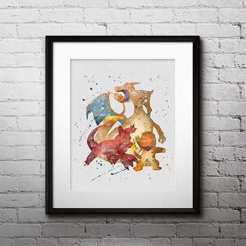 Charmender Pokemon evolution buy Poster, buy Watercolor, buy Print, buy Art, buy Wall Art, Home Decor, instant download