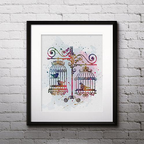 Buy Print, Buy Poster, Buy painting, Birds Poster, Birds Printable, Birds Watercolor, Birds art deco, Birds Watercolor, Birds