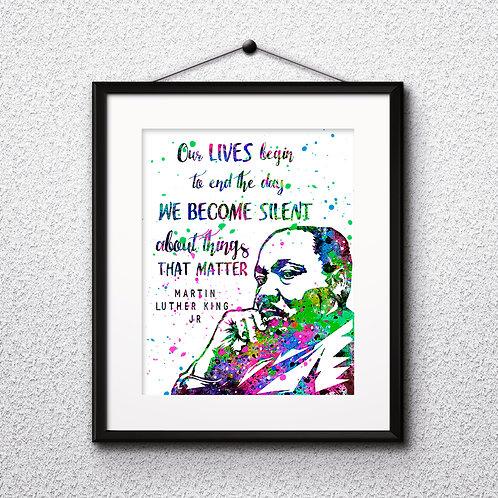 Martin Luther King Quote Art Print, buy art, buy digital image, buy painting, buy wall art, buy poster, buy watercolor paint