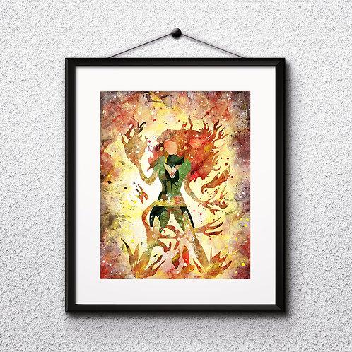 Superhero Jean Grey X-Men Marvel - watercolor, Art Print, instant download, Watercolor Print, poster