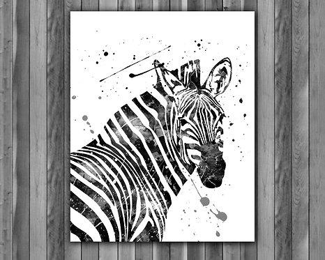 Zebras Animals Watercolor Painting, Zebras art Print, Zebras Poster, Zebras home decor, Zebras wall art, Zebras, Zebras art