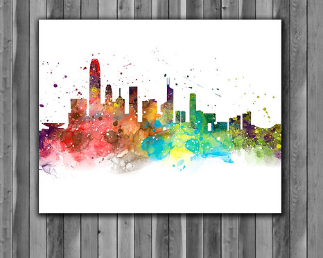 Hong-Kong Skyline Art Prints Skylines Painting Skylines Poster Skylines Wall Art Skylines watercolor Skylines Home art