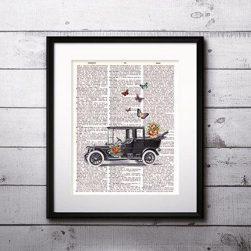 Car vintage Dictionary Wall Art painting Home Decor mixed media art print
