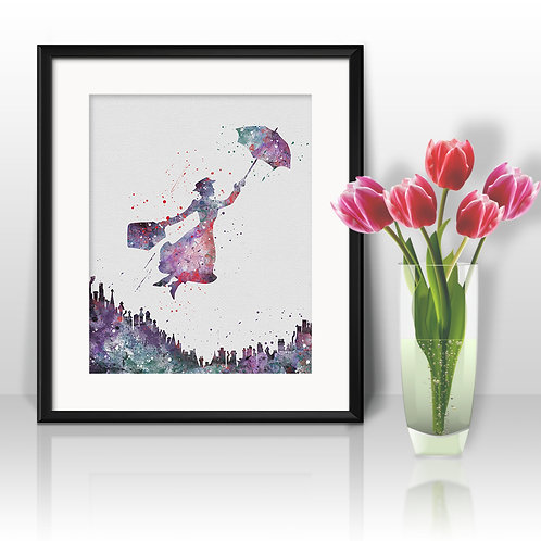 Mary Poppins Disney Watercolor Painting, Mary Poppins art Print, Mary Poppins Poster, Mary Poppins wall art, Mary Poppins art