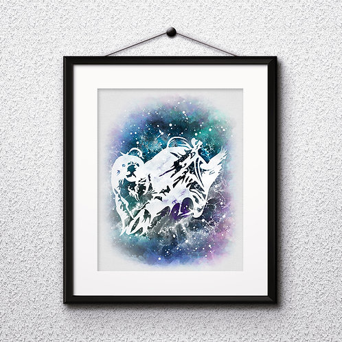Otter Patronus Hermione Granger, Harry Potter illustration watercolor, Art Print, instant download, Watercolor poster