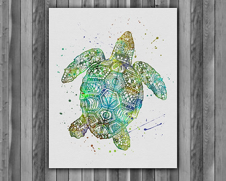 Sea Turtle Boho printables Painting, Sea Turtle art Print, Sea Turtle Poster, Sea Turtle wall art, Boho art, Animals art