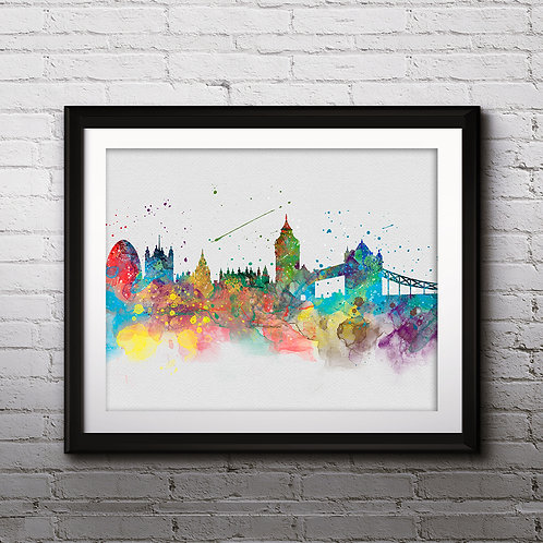 London Skylines Art , Skylines Art Print, Skylines Poster, Skylines watercolor, Skylines Wall Art, London art