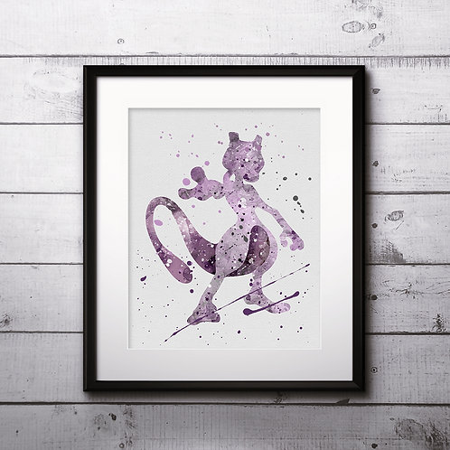 Pokémon Мевтво art Prints, Pokemon Anime art prints, buy Posters, buy watercolor art, buy wall art, buy home decor