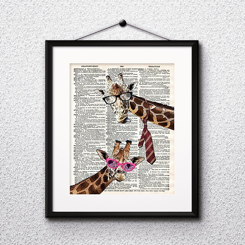 Giraffes Dictionary Art Prints Digital Poster Home Decor mixed media art print