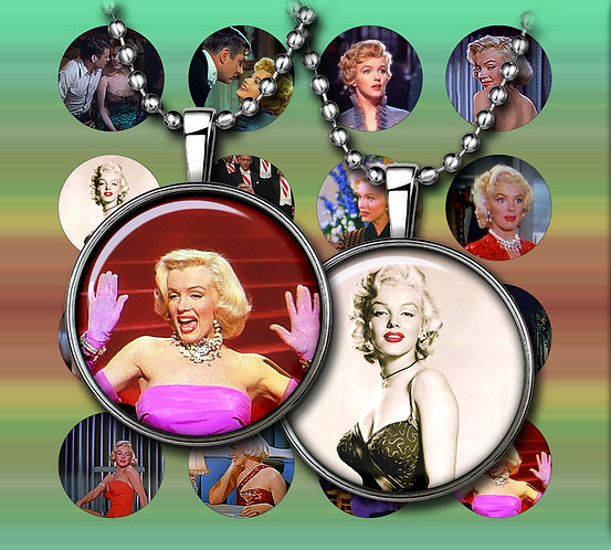 Marilyn Monroe Digital Collage, Instant Download, 1 inch, 1.5 inch Printable Circles, Cabochon, Collage Sheet
