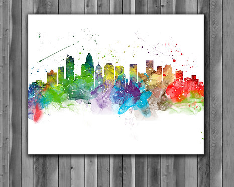 Charlotte Skyline Art Prints, Skylines Painting, Skylines Poster, Skylines watercolor, Skylines Wall Art, Skylines Home art