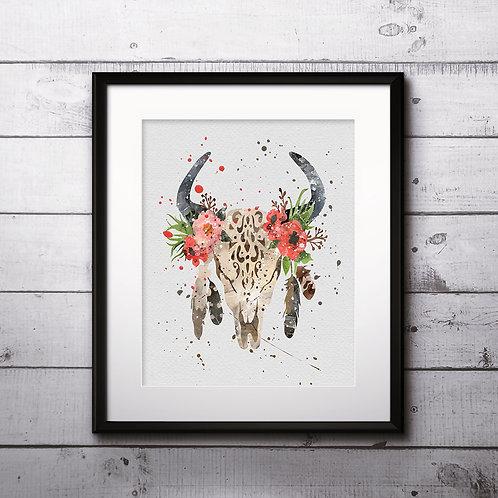 Bull Skull Boho Art Print, Bull Skull Boho Art, Bull Skull Boho Print, Bull Skull Boho watercolor, Bull Skull Boho Poster