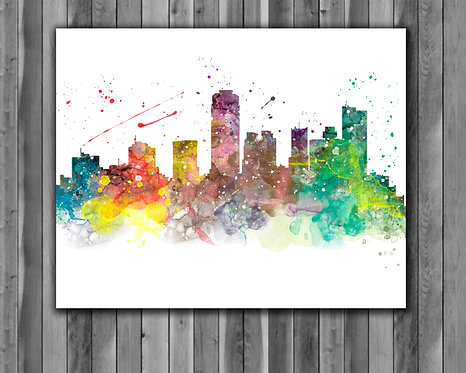 Phoenix Skyline Art Prints Skylines Painting Skylines Poster Skylines Wall Art Skylines watercolor Skylines Home art