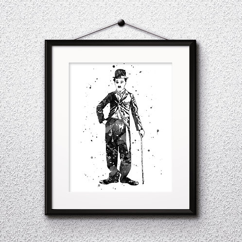 Charlie Chaplin Art Prints, Poster, watercolor, Painting, Art, Wall Art, Home Decor, Printables