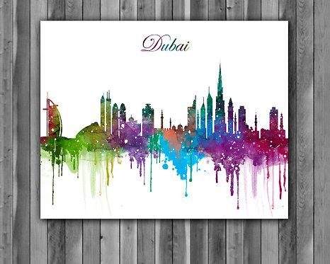 Dubai Skylines Art, Skylines Art Print, Skylines Poster, Dubai Skylines Print, Skylines Wall Art, Dubai art