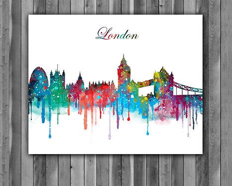 London Skylines Art , Skylines Art Print, Skylines Poster, Skylines watercolor, Skylines Wall Art, London art