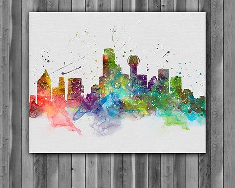 Dallas USA Skylines Art, Skylines Art Print, Skylines Poster, Skylines watercolor, Skylines Wall Art, Dallas USA art