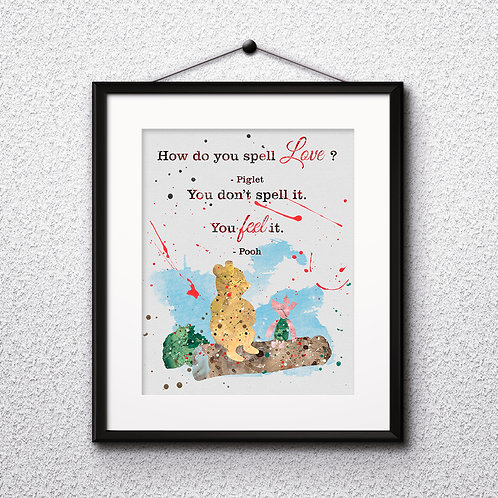 Winnie the Pooh Quote art prints, printable image, poster, watercolor painting, home decor digital art