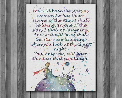 The Little Prince - Art Print, instant download, Watercolor Print, poster