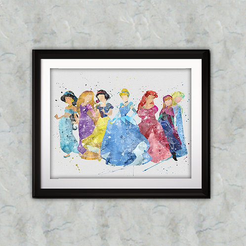 Disney Princess printables Painting, Disney Princess art Print, Princess Poster, Disney wall art, Disney Princesses