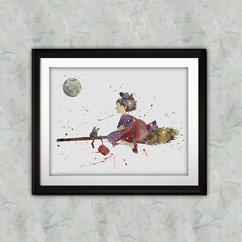 Kiki's Delivery Service Anime Instant Download, Printable, Watercolor Art, Print, Painting, Poster, Home Decor, Wall Art
