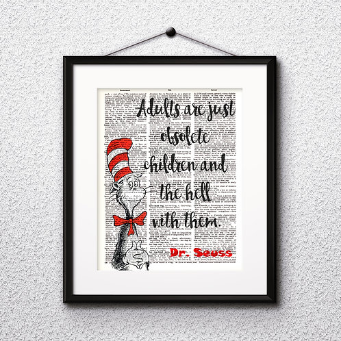 Doctor Seuss art Dictionary Art Art Prints Digital Poster Home Decor mixed media art print