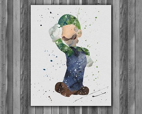 Luigi Super Mario Art, Mario Poster, Mario Painting, Mario Print, Mario Art Print, Mario Printable