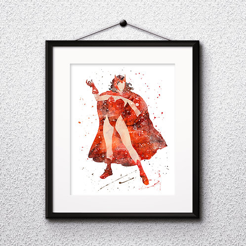 X-Men Scarlet Witch watercolor, Art Print, instant download, Watercolor Print, poster