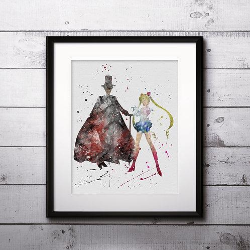 Sailor Moon and Tuxedo Mask Anime Art, Watercolor Printable, Print, Painting, Home Decor, Wall Art Poster, buy poster buy art