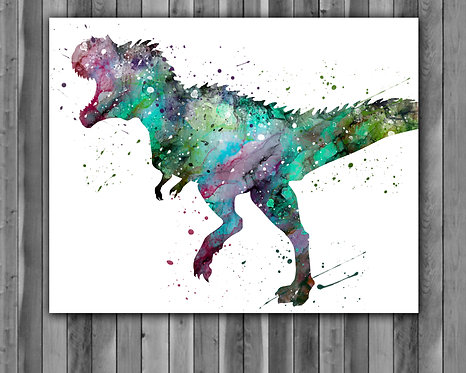 Tyrannosaurus rex Dinosaur Watercolor Print, watercolor painting, watercolor art, home decor, watercolor animal, Dinosaur art