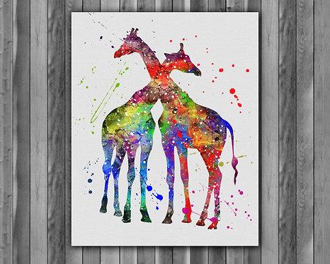 iraffes Animals art, Giraffes Animals art Print, Giraffes Animals Poster, Giraffes Animals home decor, Giraffes Animals wall